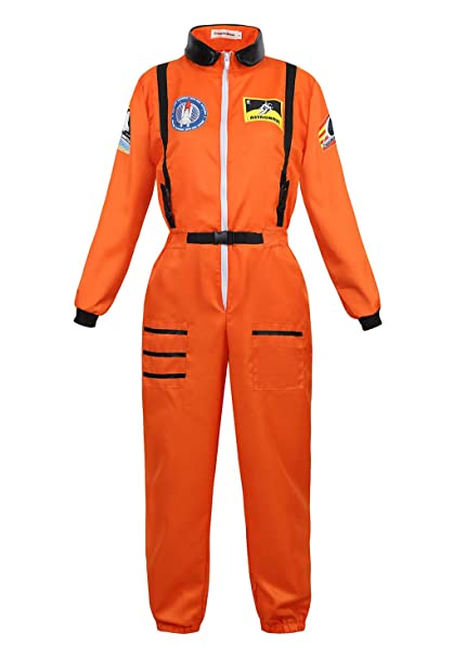 frawirshau Adult Astronaut Costume Women Space Suit Halloween Costumes Flight Jumpsuit