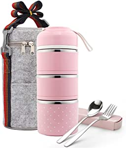 Stackable Lunch Box, ArderLive Stainless Steel Thermal Insulated Bento Lunch Container with Lunch Bag & Cutlery, Leakproof Food Storage Container for Office Kids.(3Layer,Pink)