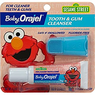 Orajel Elmo Fluoride-Free Tooth & Gum Cleanser with Finger Brush, Combo Pack, Fruity Fun Flavored Non-Fluoride, 0.7 oz.