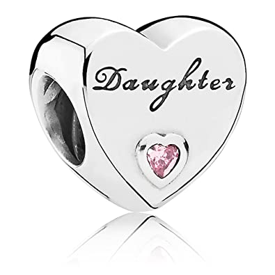 a7d76e125 Amazon.com: PANDORA Daughter'S Love Charm, Sterling Silver, Pink Cubic  Zirconia, One Size: Pandora: Jewelry