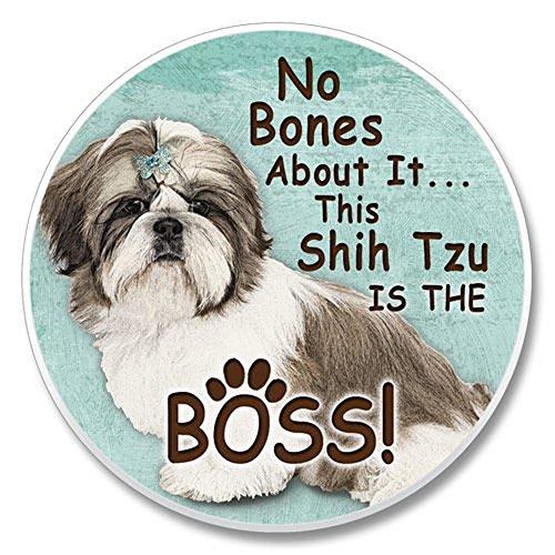 No Bones About It... This Shih Tzu is the Boss! Single Ceramic Car Coaster (Bone Shih Tzu)