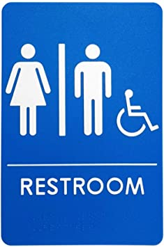 Amazon Com Unisex Handicap Restroom Sign Ada Compliant Bathroom Door Sign For Offices Businesses And Restaurants Made In Usa Office Products