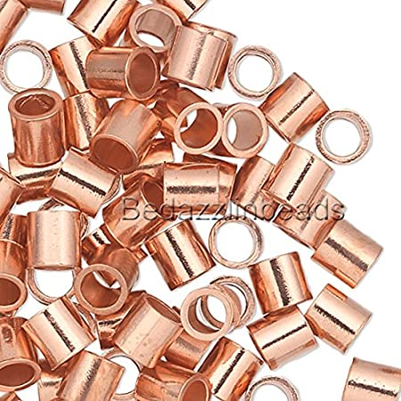 100 Pure Copper Crimp Tube Beads Findings for Ending Beading Cord /& Wire Ends 6mm x 2mm