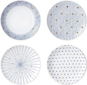 Hankook Chinaware Moire Dish Set 4P Home Dinnerware Bone Chinaware (5-inch)