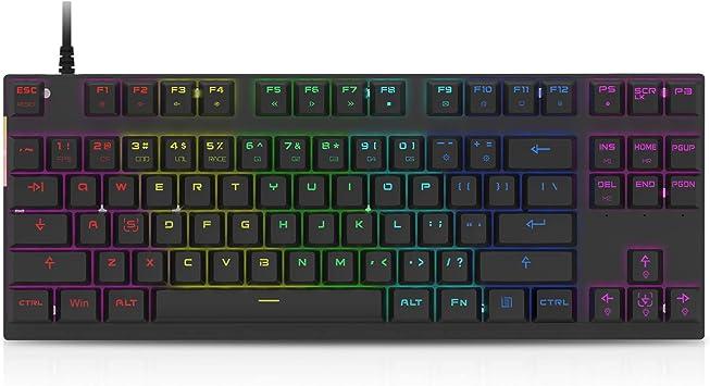 Motospeed Profesional Gaming Teclado mecánico RGB Rainbow retroiluminado 87 teclas iluminado ordenador USB Gaming Keyboard para Mac & PC Negro