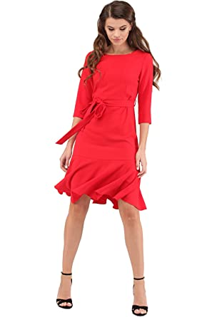 a4dd14fe8c5 Women s Elegant Modest 3 4 Sleeve Crewneck Belted Semi Formal Midi Work  Cocktail Dress at Amazon Women s Clothing store