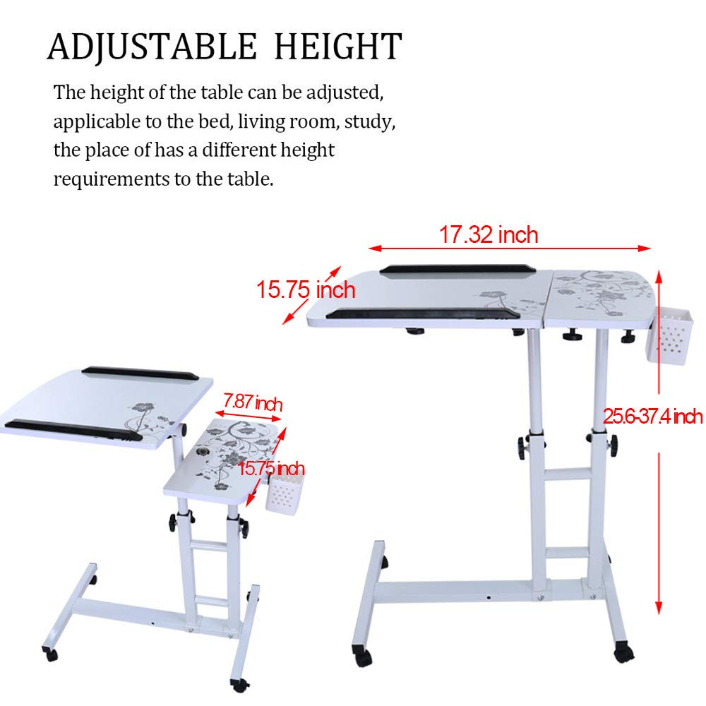 or CA. Black Transser Portable Laptop Rolling Cart Standing Table Height Adjustable Bedside Mobile Computer Stand Desk Coffee Table with Removable Wheels Shipping From NJ
