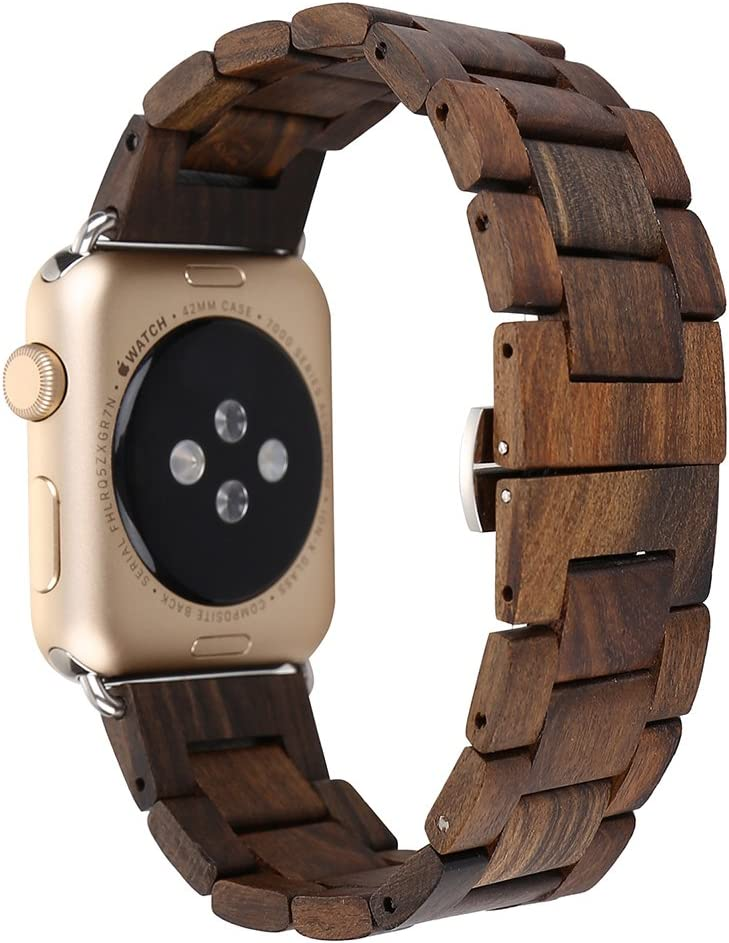 Compatible with Apple Watch Band 42mm 44mm, Genuine Wood Handmade Natural Wooden Watch Strap Replacement Wristband Bracelet for Apple Watch Series 4 (44mm) Series 3 Series 2 Series 1 (42mm)