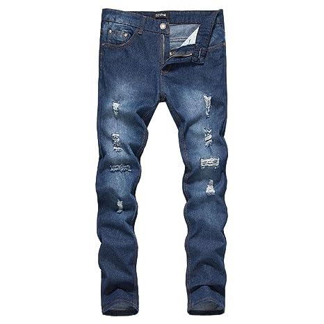 Weentop Pantalones Vaqueros de los Hombres Ripped Skinny ...