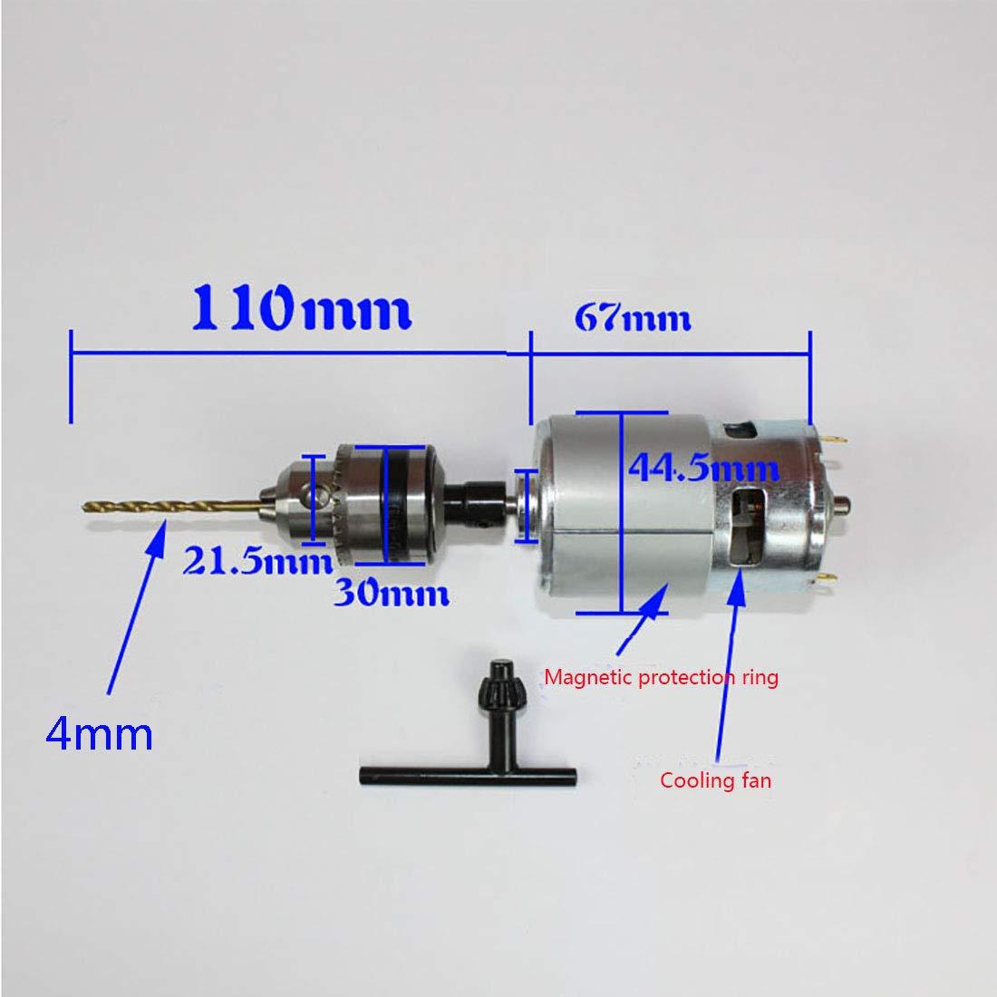 DC 12V 775 Motor el/éctrico de Alta Potencia Cepillado 16mm Eje Micro Motor de Repuesto cil/índrico para Juguetes de Ventilador el/éctrico 12000RPM