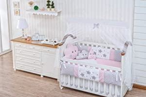Little Happy Cloud Star Raindrop Theme Pink Chevron Baby Girl 09 pcs Nursery Bedding Set with Cushions Cloud Raindrop + Sheet Set + Bumpers