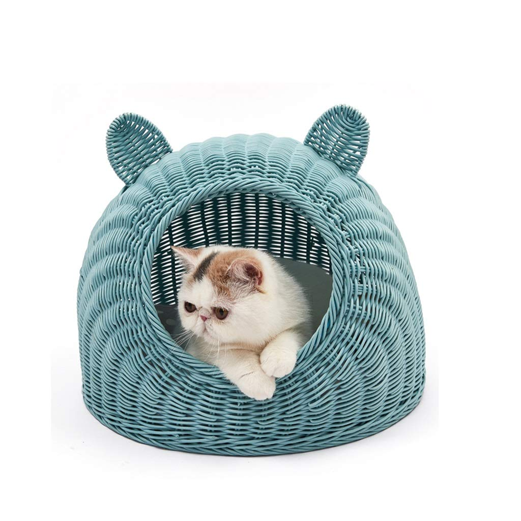 bluee SCat Bed, Rattan Cat Litter Closed Easy to Clean HandWoven Young Dog Bed (color   Beige, Size   L)
