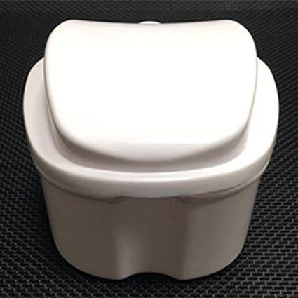 Estuche para dentaduras, vaso de dentadura con colador, caja de almacenamiento de dientes falsos caja de almacenamiento con cesta de red para viajes, limpieza de retenedores (blanco): Amazon.es: Belleza