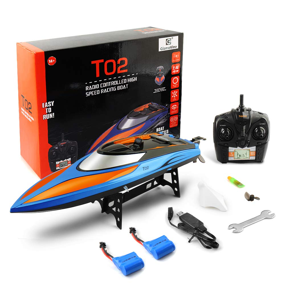 Gizmovine RC Boat Pool Toys High Speed (20 MPH+) Electric 180 Degree Flipping Remote Control Boat for Pools and Lakes 2.4GHz RC Racing Boats for Adults & Kids + Bonus Battery, 2019 Version (H102)