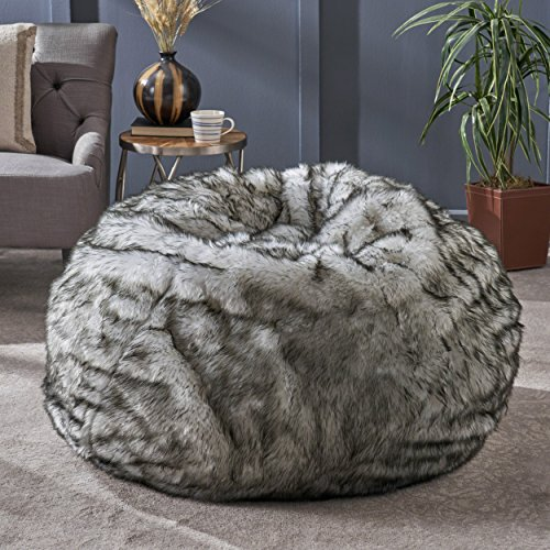 Great Deal Furniture 304235 Laraine Furry Glam White and Grey Streak Faux Fur 3 Ft. Bean Bag,