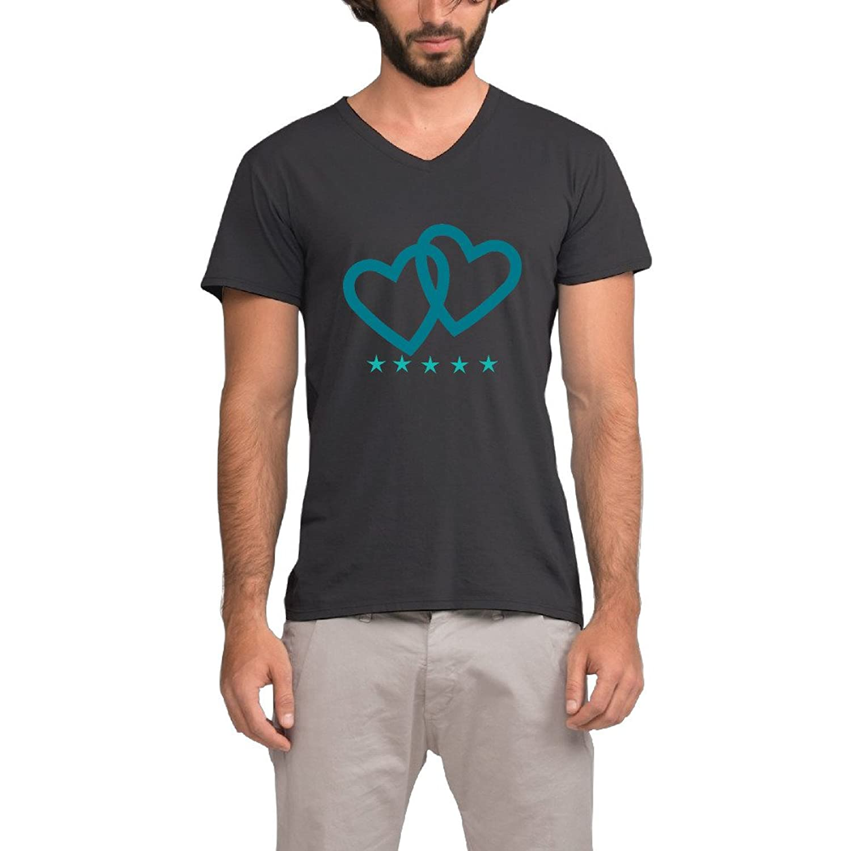 Loves And Stars Mens Comfortable Fashion V-neck Tee T-shirt