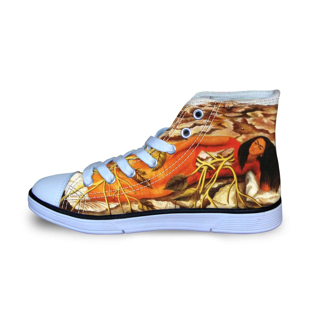 Canvas High Top Sneaker Casual Skate Shoe Boys Girls Mexican Female Painter Frida Kahlo Lying Down Tree of Life
