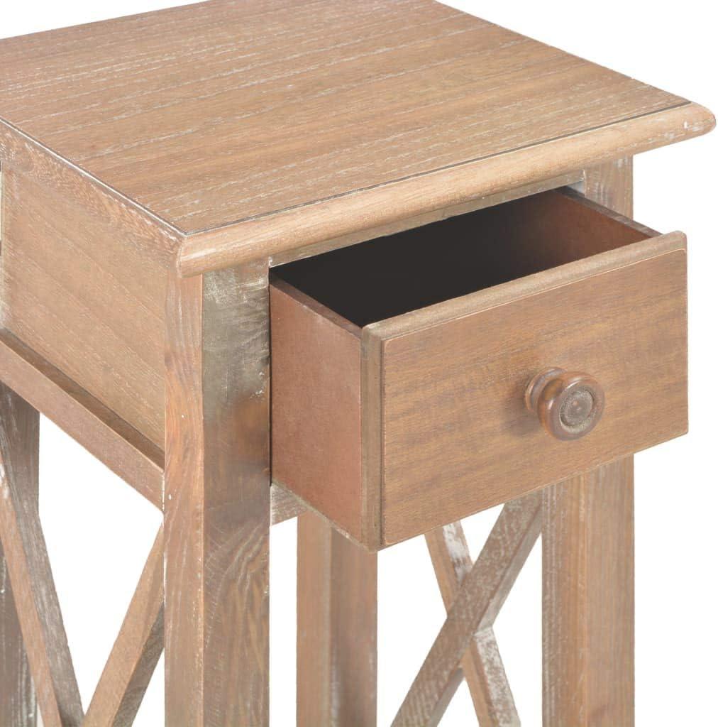 vidaXL Holz Beistelltisch mit Schublade Ablage Telefontisch Telefonkonsole Blumentisch Nachttisch Konsolentisch Konsole Ablagetisch Tisch Braun Wei/ß