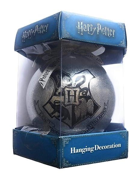 Primark Harry Potter Oficial Plata Escudo Bola Decorativa Grande Vidrio Plateado Brillante