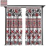 cobeDecor UV Protectant Indoor Outdoor Curtain Panel Ukrainian Crochet-Look Nostalgic for Lawn & Garden, Water & Wind Proof W108 xL72