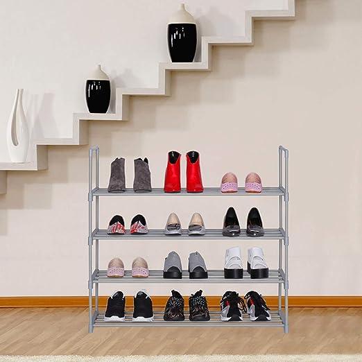 Organizador de Zapatos apilable de Metal para Entrada YUSONG Zapatero de pie 6 Niveles guardarropa y Sala de Estar