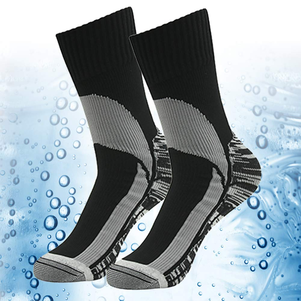 100% Waterproof Breathable Socks, RANDY SUN Unisex Mid Weight Mid Length Athletic Running Socks Black 2 Packs S by RANDY SUN