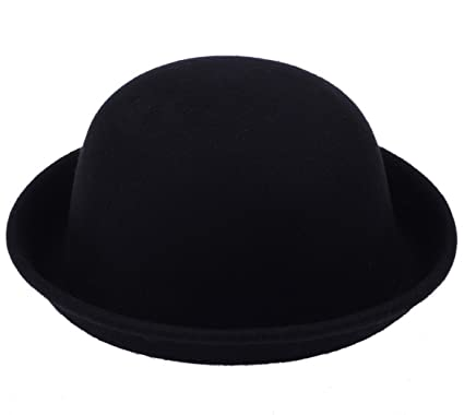 25a1381c SWT Women Fashion Vogue Vintage Cute Trendy Bowler Wool Derby Hat ---  Black: Amazon.co.uk: Clothing