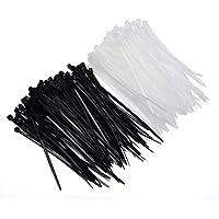 U-horizon 200 Pack Cable Ties, 100mm x 2.5mm High Quality Strong Nylon Zip Ties Wraps, Black + White