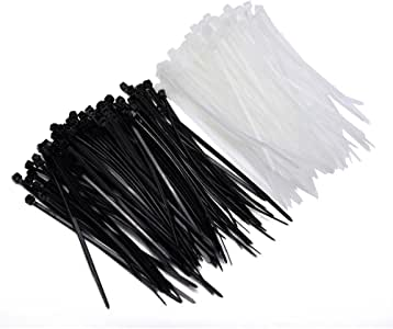 U-horizon 200 Pack Cable Ties, 100mm x 2.5mm High Quality Strong Nylon Zip Ties Wraps, Black + White