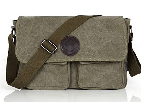b1b332f30cd0 Ecokaki(TM) Vintage Canvas Leather Messenger Bag Traveling Briefcase  Shoulder Bag for Men and Women, Army Green