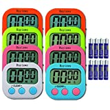 lcd digital timer - Ruyixws 8 Pack Digital Kitchen Timer with Large LCD Display, Loud Alarm, Magnetic Back with Stand, Timer for Teachers Cooking Baking Sports Office, On/Off Switch, Battery Included (5 Colors)