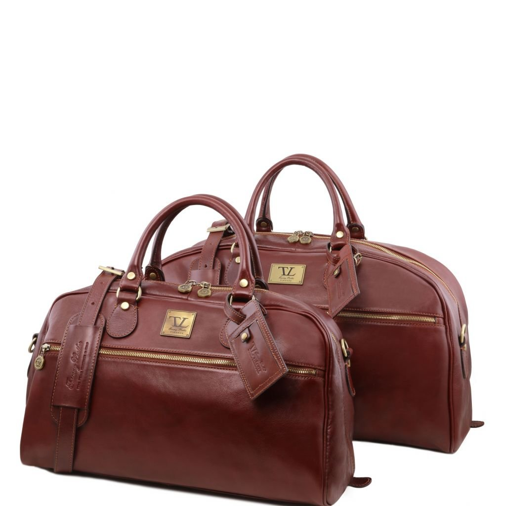 Italian Leather travel set Brown
