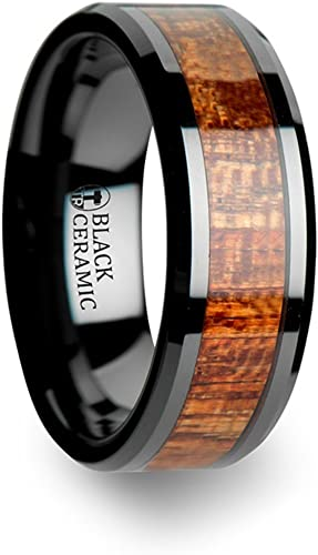 Thorsten Gabon Black Ceramic Wedding Band Ring with Polished Beveled Edge and Exotic Rich Genuine Mahogany Hard Wood Inlay 4mm Wide from Roy Rose Jewelry