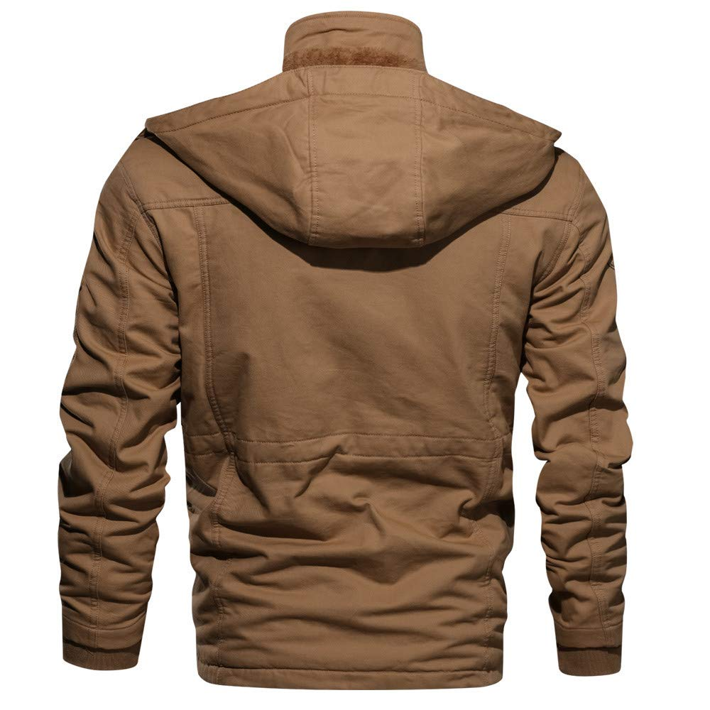 Outwear Men's Sleeve Pocket Daoroka Warm Fashion Thick Cotton Casual Coat Winter Jacket Long Autumn Big Pocket Blouse LqzMjUpSVG