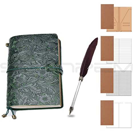 Amazon.com : Sculpture Vintage Retro Leather Journal Diary ...