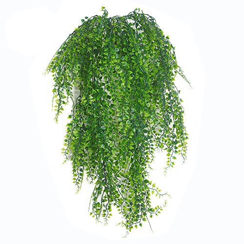 - SzJias 2pcs Artificial Hanging Vines Plants Fake Ivy Outdoor UV Resistant Greenery Faux Fake Plastic Plants Wall Hangs Flowers Vine for Lndoor Outside Wedding Home Garden Hanging Basket Decor