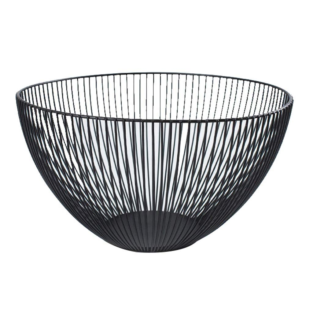 AIWO-PQ Storage Basket Metal Creative Simple Storage Basket, with Black Fruit Basket (Color : Black)