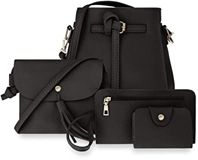 Damentaschen 4 in 1 Shopper Clutch Handgelenktasche Kreditkartenetui schwarz