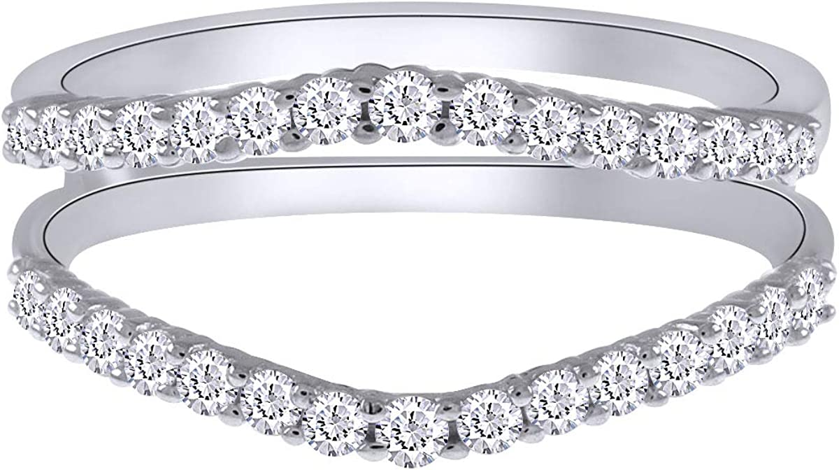 AFFY 0.50 Carat Round Sparkling White Cubic Zirconia Curve Enhancer Guard Ring Gold Over Sterling Silver