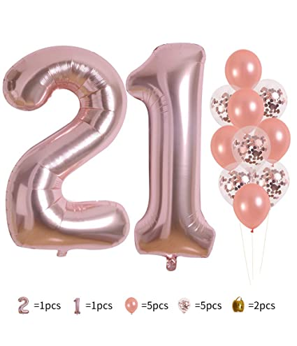 Rose Gold Number 21 Balloon