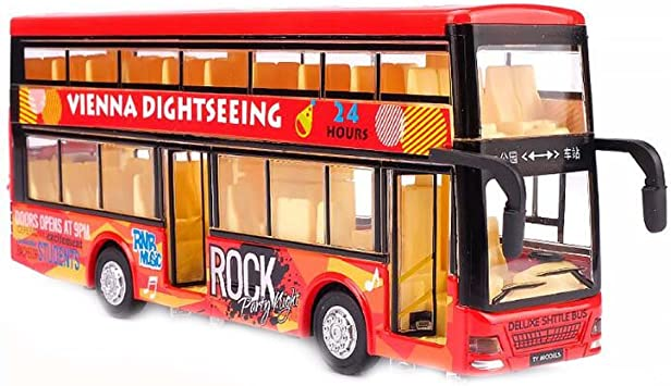 Sightseeing-Tour Doppeldecker Roter Bus Spielzeuglegierung Druckguss Offenes Dach Autobus Fahrzeuge Schimmel im Ma/ßstab 1:32 mit Lampen und Musik