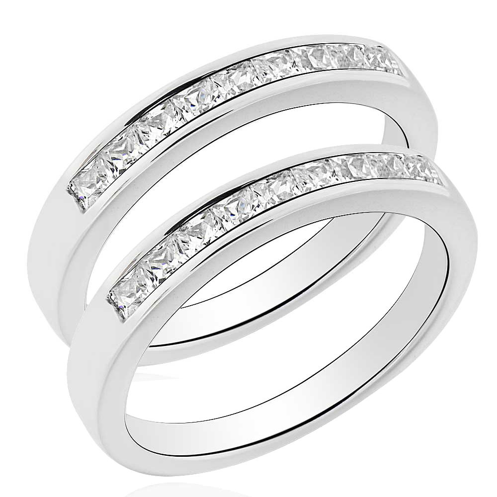 His and Hers Moveable Titanium 2.6CT Sterling Silver Blue Princess Cubic Zirconia Wedding Ring Set