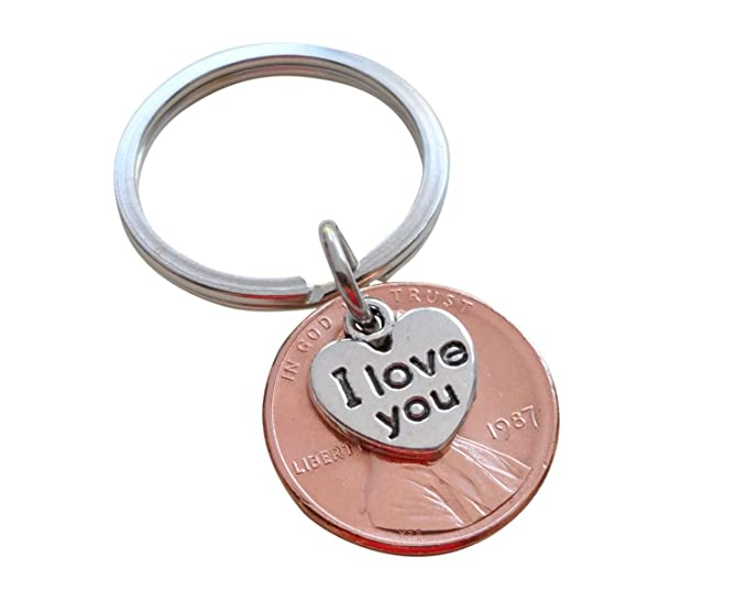 Amazon I Love You Heart Charm Layered Over 1987 Us One Cent