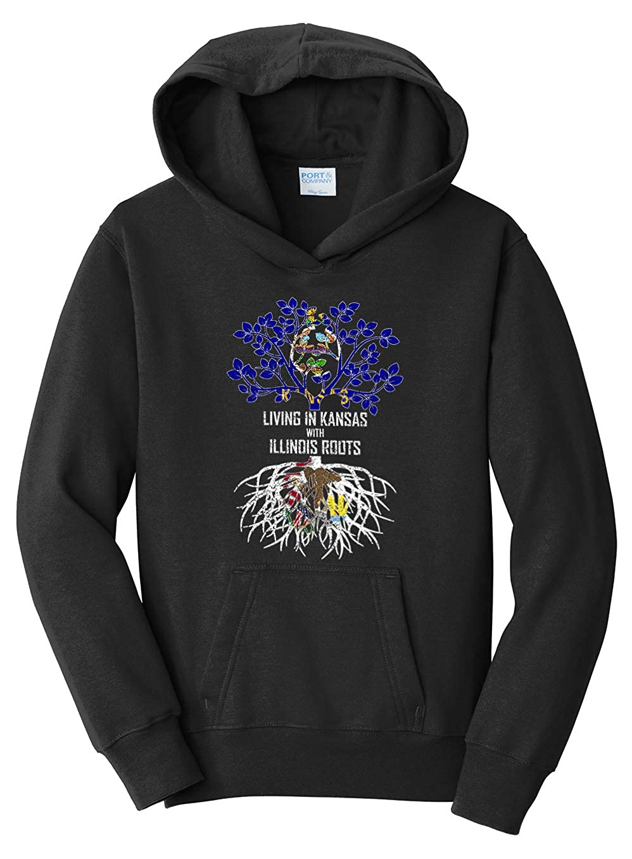 Tenacitee Girls Living in Kansas with Illinois Roots Hooded Sweatshirt