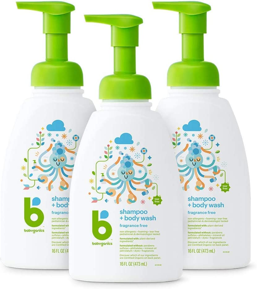 Babyganics Baby Shampoo + Body Wash Pump Bottle, Fragrance Free, 16oz, 3 Pack, Packaging May Vary: Health & Personal Care
