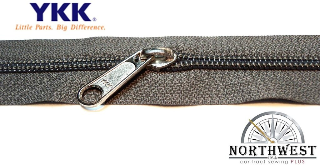 YKK #5 CN Zipper coil chain. Each yard comes with 1 slider. (Gray, 10 yards, 10 nickel sliders) by YKK