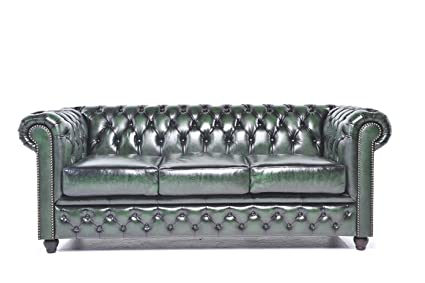 Amazon Com The Chesterfield Brand 3 Seater Antique Green Sofa