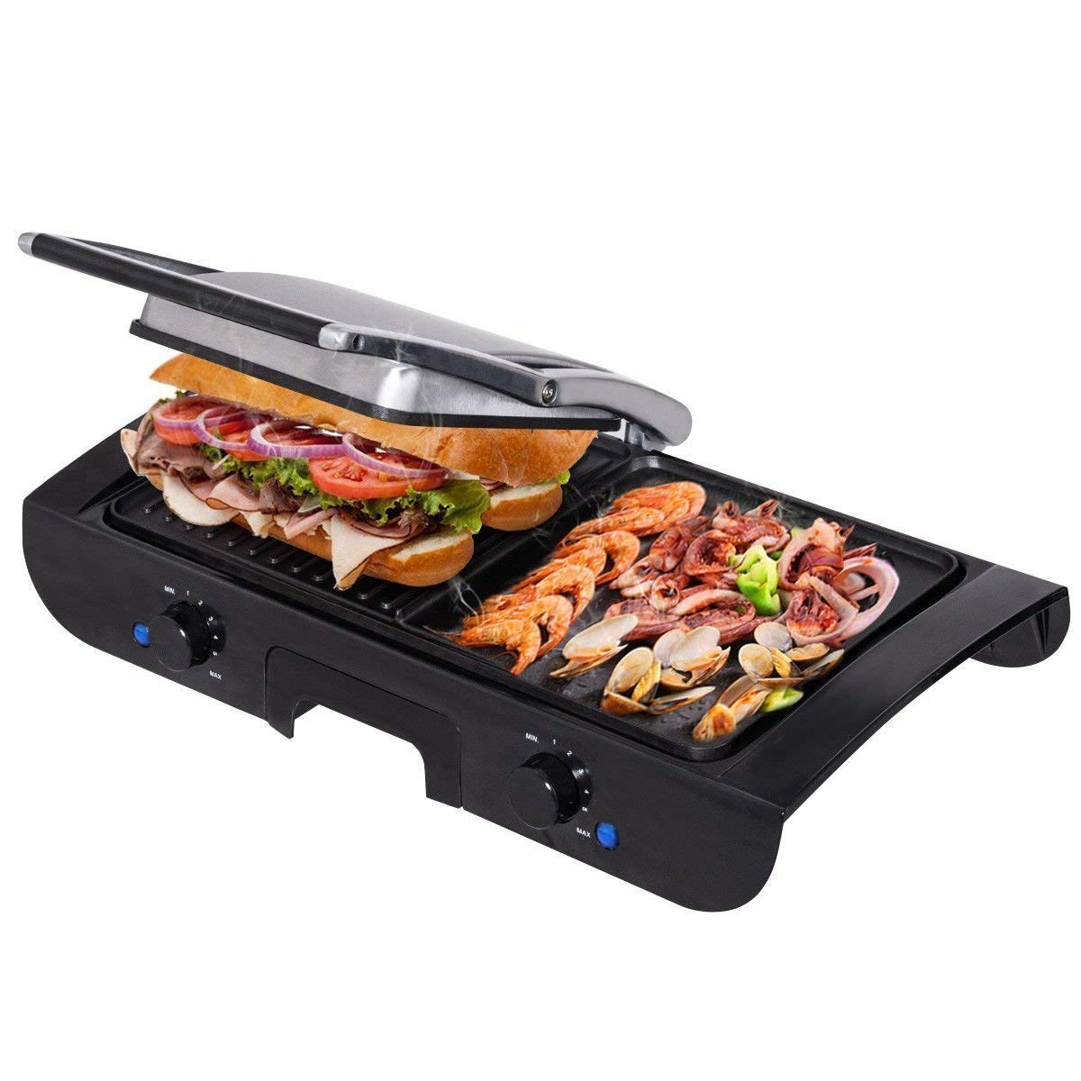 Costzon Grill Griddle, 2-in-1 Sandwich Maker with Lid, 1500W Smokeless Non-Stick Indoor Grill with Two Temperature Control & Indicator Light