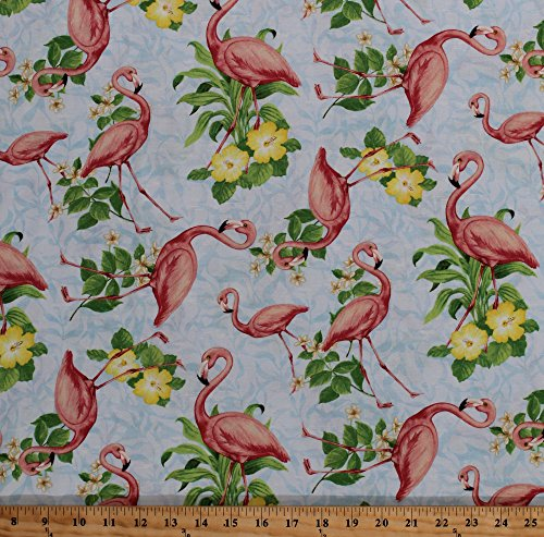 - Cotton Flamingos Flamingo Birds Animals Hibiscus Flowers Garden Tropical Nature Floral Seaside Wonders Cotton Fabric Print by the Yard (1406-28104-437)