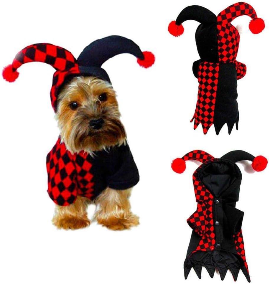 WINNER POP Disfraz de Payaso de Halloween para Mascotas, Ropa de ...